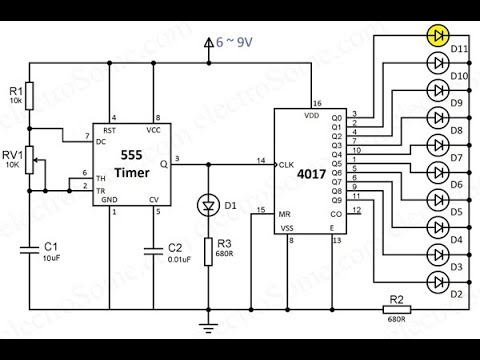 knight rider circuit using a 555 timer and CD4017 ICs