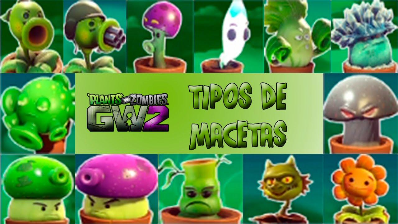 Plantas vs zombies gw2 tipos de macetas youtube for Tipos de plantas para macetas