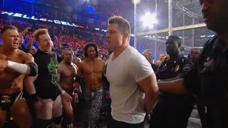 Arrests are made during the chaotic aftermath of the WWE Triple Threat Match: Hell in a Cell 2011