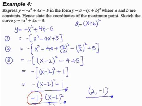 8 Quadratic Equations And Inequalities Example 4 Complete The