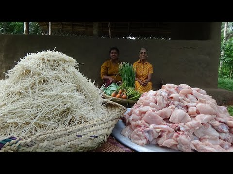 Noodles Recipe ❤ Cooking Chicken Noodles By Grandma And Daughter | Village Life