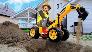 Senya Unboxing and Pretend PLAY with POWER WHEEL Tractor! Ride on TRACTOR BULDOZER for Baby