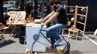 pedal power washing machine diy conversion 4 lavadora a pedal 4 lave linge p dale 4. Black Bedroom Furniture Sets. Home Design Ideas