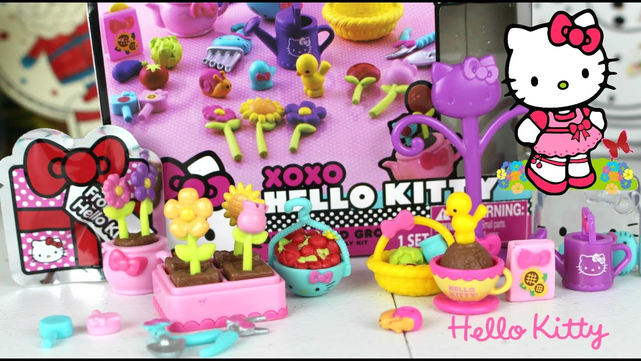 Hello kitty mini doll play kit juguetes de hello kitty hello kitty jardin youtube for Juegos de hello kitty jardin