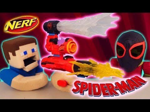 SPIDERMAN Into the Spiderverse Nerf ASSEMBLER Gear The Miles Morales Blaster Challenge