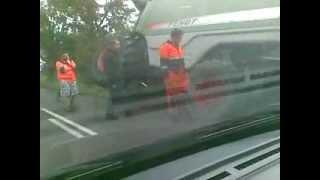 Kombajn zbożowy fendt 9460r  w rowie wypadek trasa Koszalin-Jamno