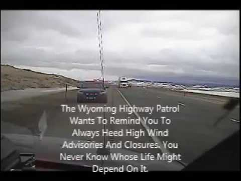 Watch Wind Blow Over Semi Truck On Wyoming Patrol Cruiser