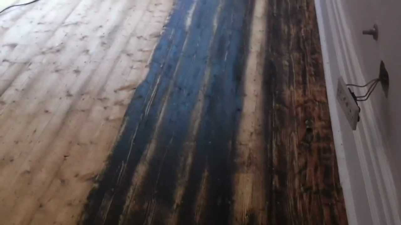 Pine Floorboards Restored Sanded Stained Refinished In