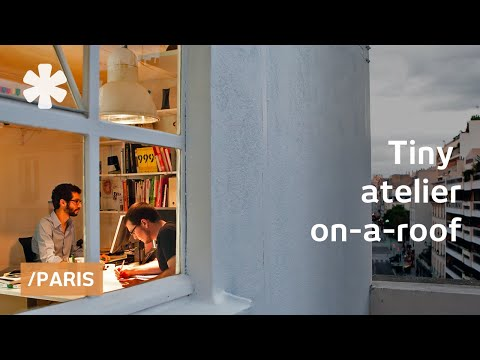 Tiny Parisian rooftop office transforms for work & leisure
