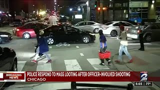 Police respond to mass looting after officer-involved shooting in Chicago
