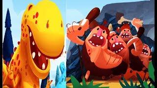 DINO BASH #1 Динозавры против Троглодитов  веселые видео игра как мультик