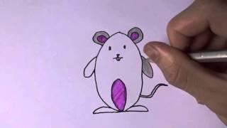 Dạy bé vẽ các loài động vật - Dạy bé vẽ con chuột - How to draw a Rat