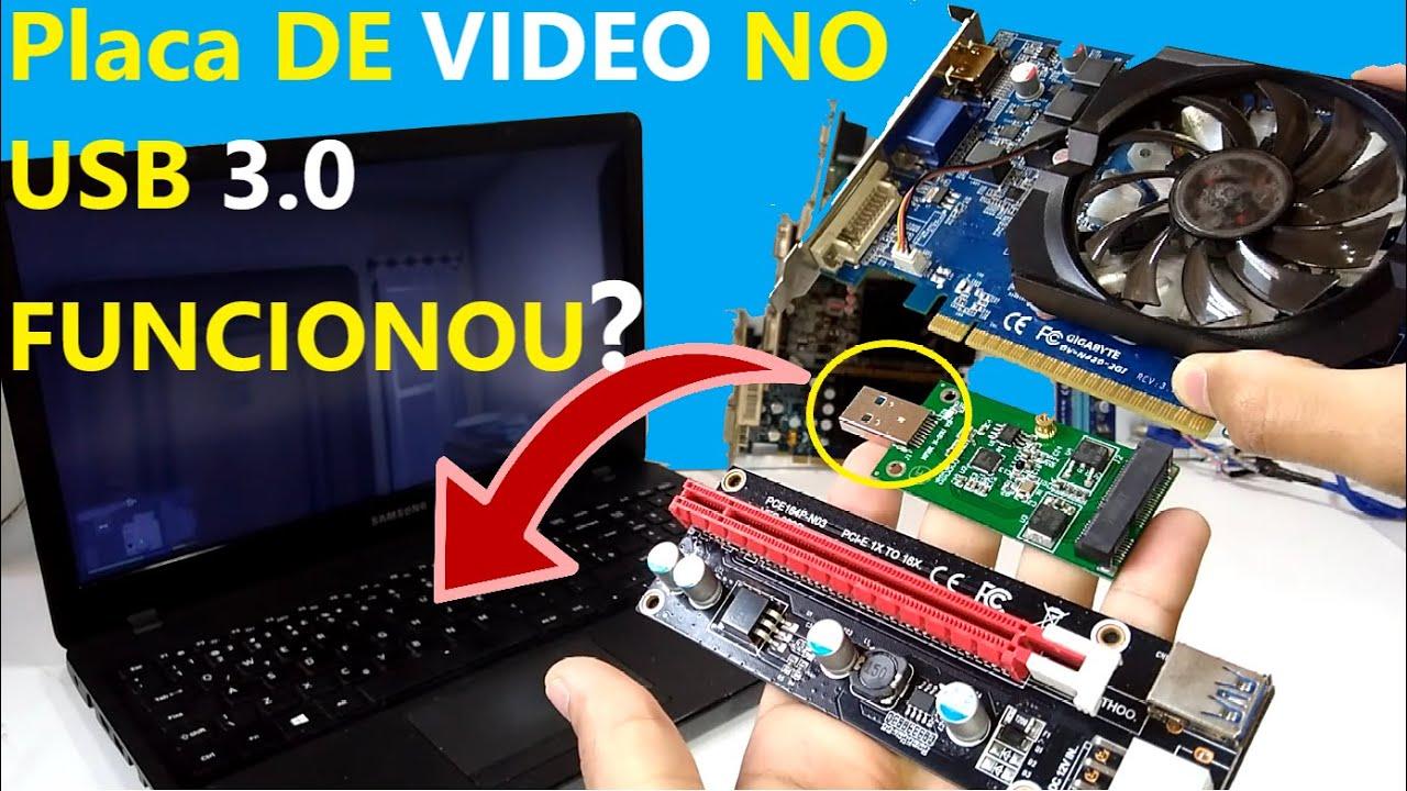 PLACA DE VIDEO em notebook PELA USB 3.O USANDO CONVERSOR mSATA, SERÁ QUE AGORA DEU VIDEO?