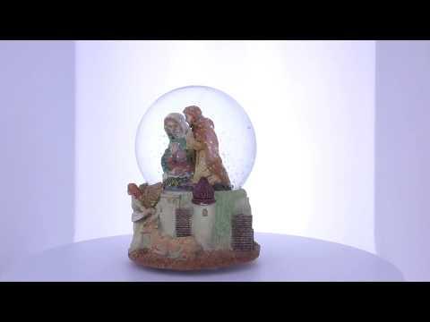 "Nativity Scene Guardian Angel With ""Silent Night"" Music Box Snow Globe"