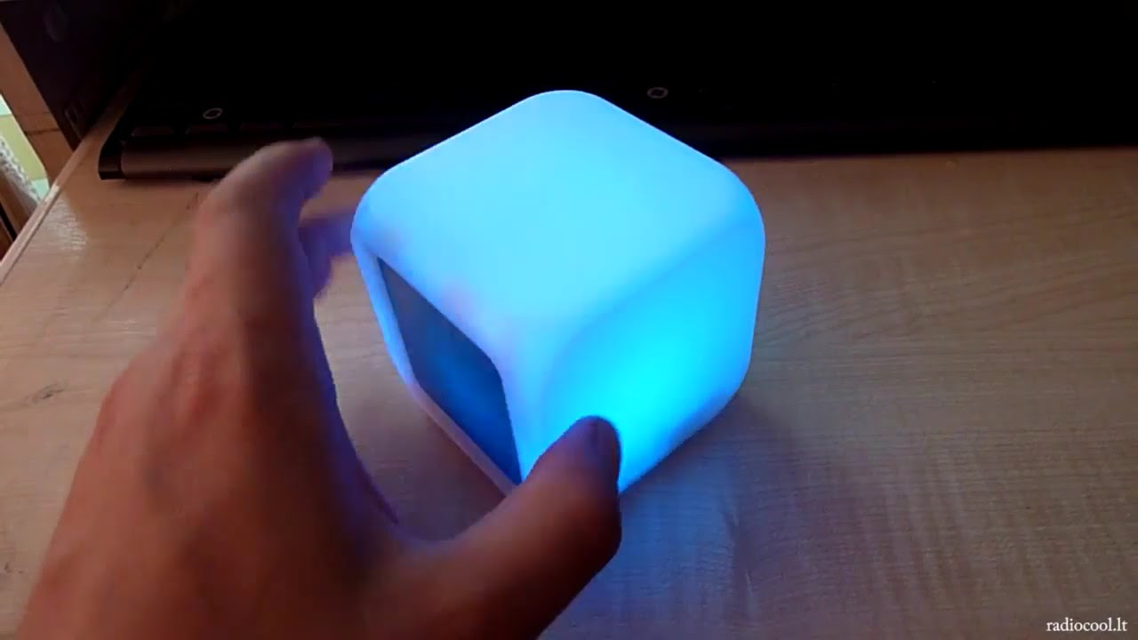 glowing color changing led cube digital alarm clock youtube. Black Bedroom Furniture Sets. Home Design Ideas