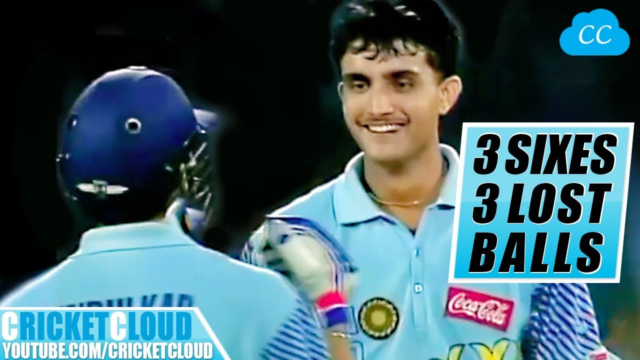 Sourav Ganguly's 3 SIXES - 3 LOST BALLS   MUST WATCH !!