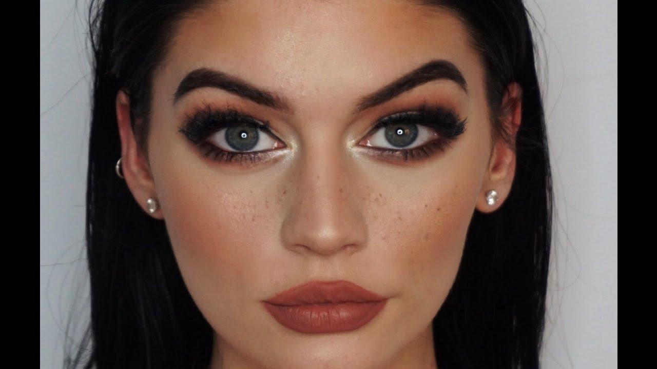 dark green wing & faux freckles makeup tutorial | micaelakbeauty