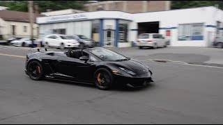 Lamborghini Gallardo Spyder Performante - Startup, FULL THROTTLE Acceleration, Downshift!