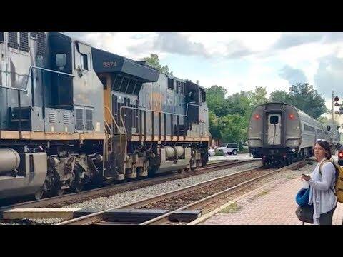 CSX Freight Train Passes Amtrak Train + Street Running Coal Train Follows!