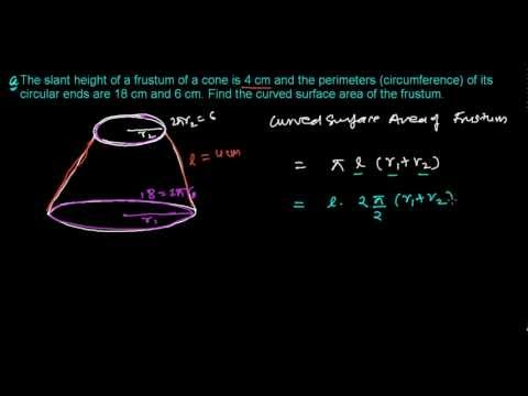 How To Find Curved Surface Area Of Frustum Of A Cone Youtube