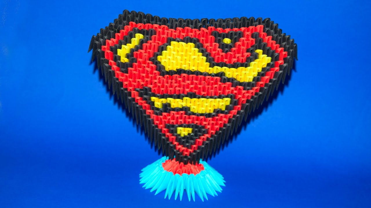 3d origami stand for superman logo of paper tutorial youtube jeuxipadfo Image collections