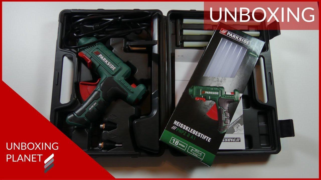 unboxing heißklebepistole und ersatzstifte von parkside - unboxing