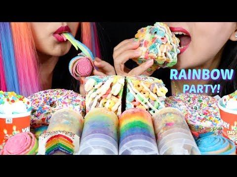 ASMR RAINBOW PARTY (CAKE PUSH POPS, CEREAL TREAT DONUTS, ICE CREAM) 리얼사운드 먹방 | Kim&Liz ASMR