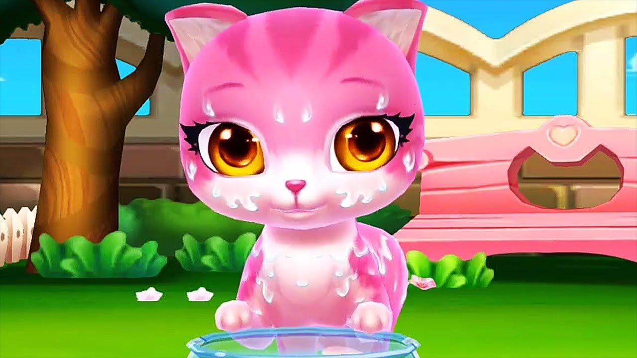 Cat Cartoon Pet Care Game Bath Kitten Dress Up Feed Treat Cats Pet Cartoon Video Youtube
