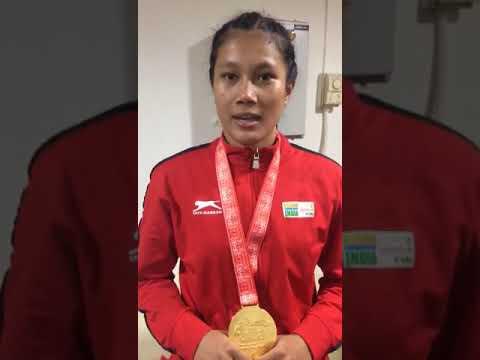 Ankushita Boro of Assam after winning a gold medal in AIBA Women Youth World Boxing Championship