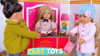 Play Baby Doll House Toys! American Girl Dolls WInter Snow Vacation in Grand Hotel Play Set!!