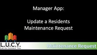 Manager - Update a Maintenance Request