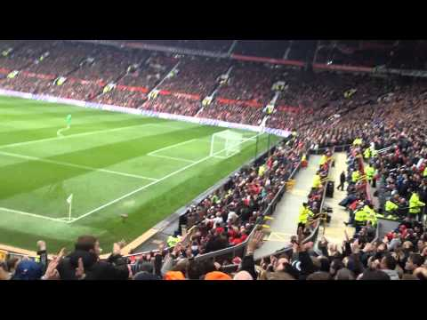 Liverpool fans sing we are liverpool / poetry in motion song at Old Trafford