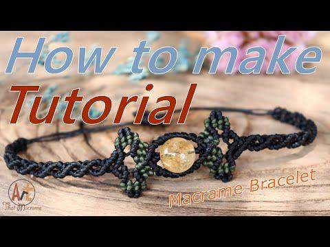 Tutorial how to make a macrame bracelet knot sliding with stone thumbnail