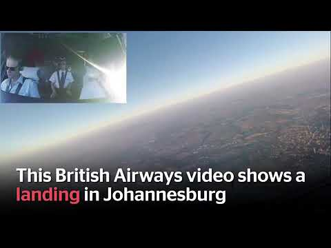 British Airways pilot filming from the flight deck - Johannesburg, South Africa Airport
