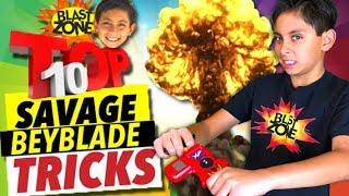 Top 10 Beyblade Tricks on Blast Zone Kid!  My Most Savage Beyblade Burst Trick Shots!