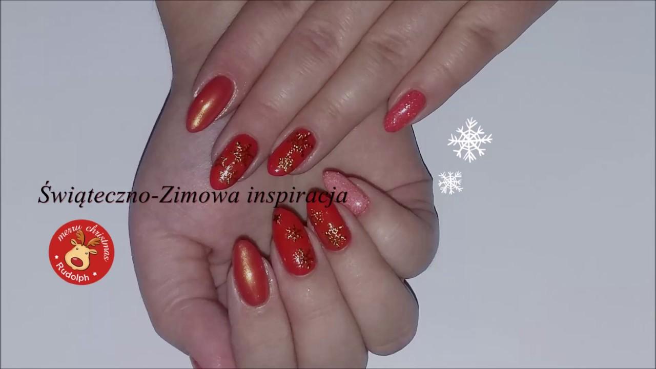 świąteczno Zimowa Inspiracja Czerwono Złote Paznokcie Youtube