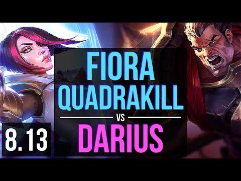 FIORA vs DARIUS (TOP) ~ Quadrakill, KDA 11/0/6, Legendary ~ Korea Challenger ~ Patch 8.13