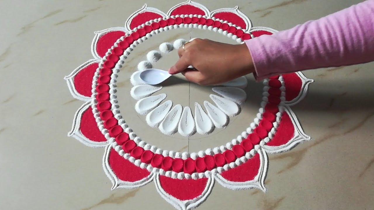 Easy Attractive Rangoli Design For Diwali 2020 Rangoli By Sangeeta Youtube,Green Plain Saree With Designer Blouse Images