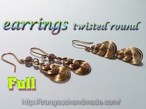 earrings twisted round like coins - handmade copper wire jewelry - full version ( slow ) 310