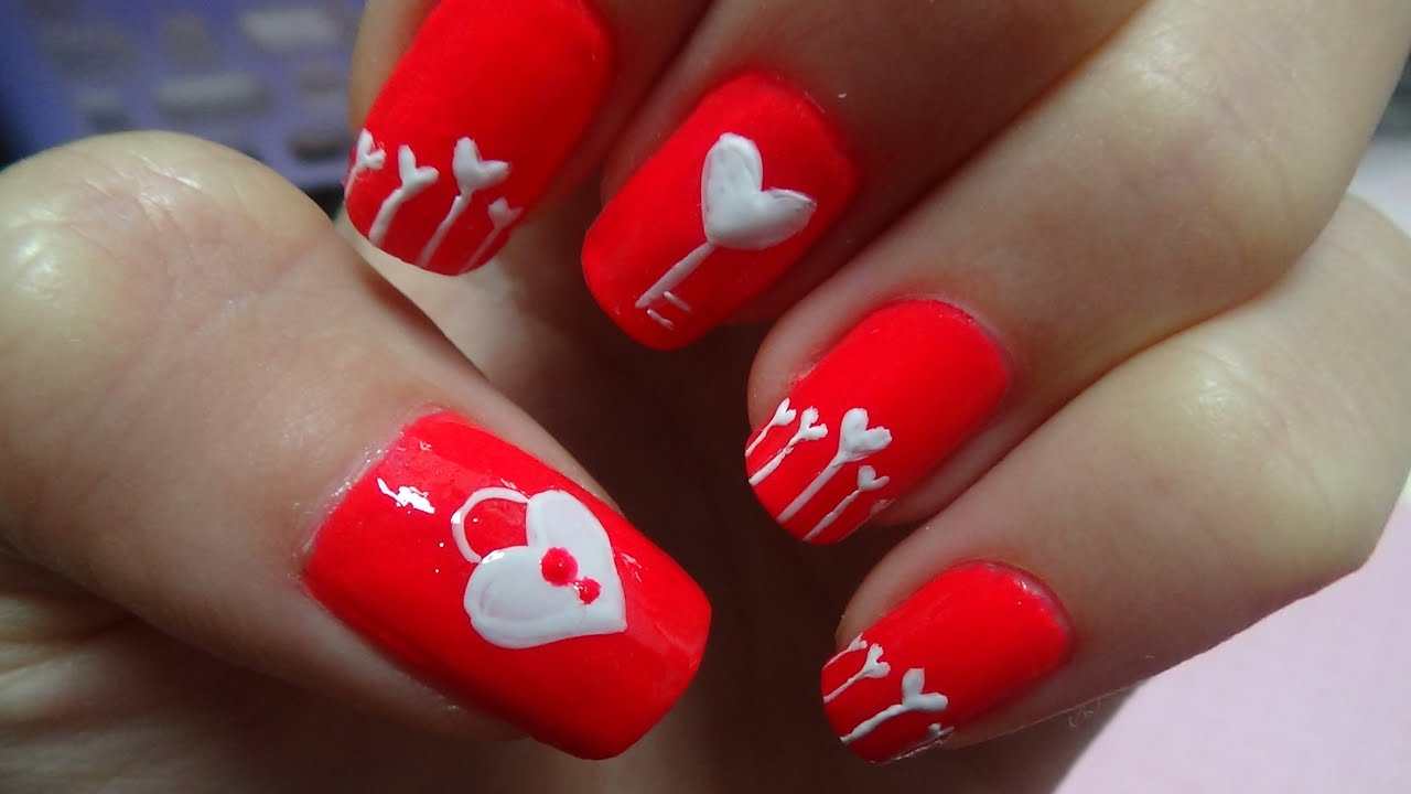 Easy Nail Art For Valentines Day Heart Shape Key Lock Youtube