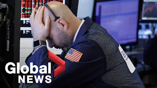 NYSE Big Board: Chinese tariff retaliation causes Dow Jones to plunge