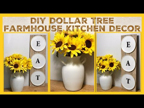 DIY Dollar Tree Farmhouse EAT Kitchen Sign - Bonus Vase DIY - Inspired / Dupe DIY Rustic Room Decor