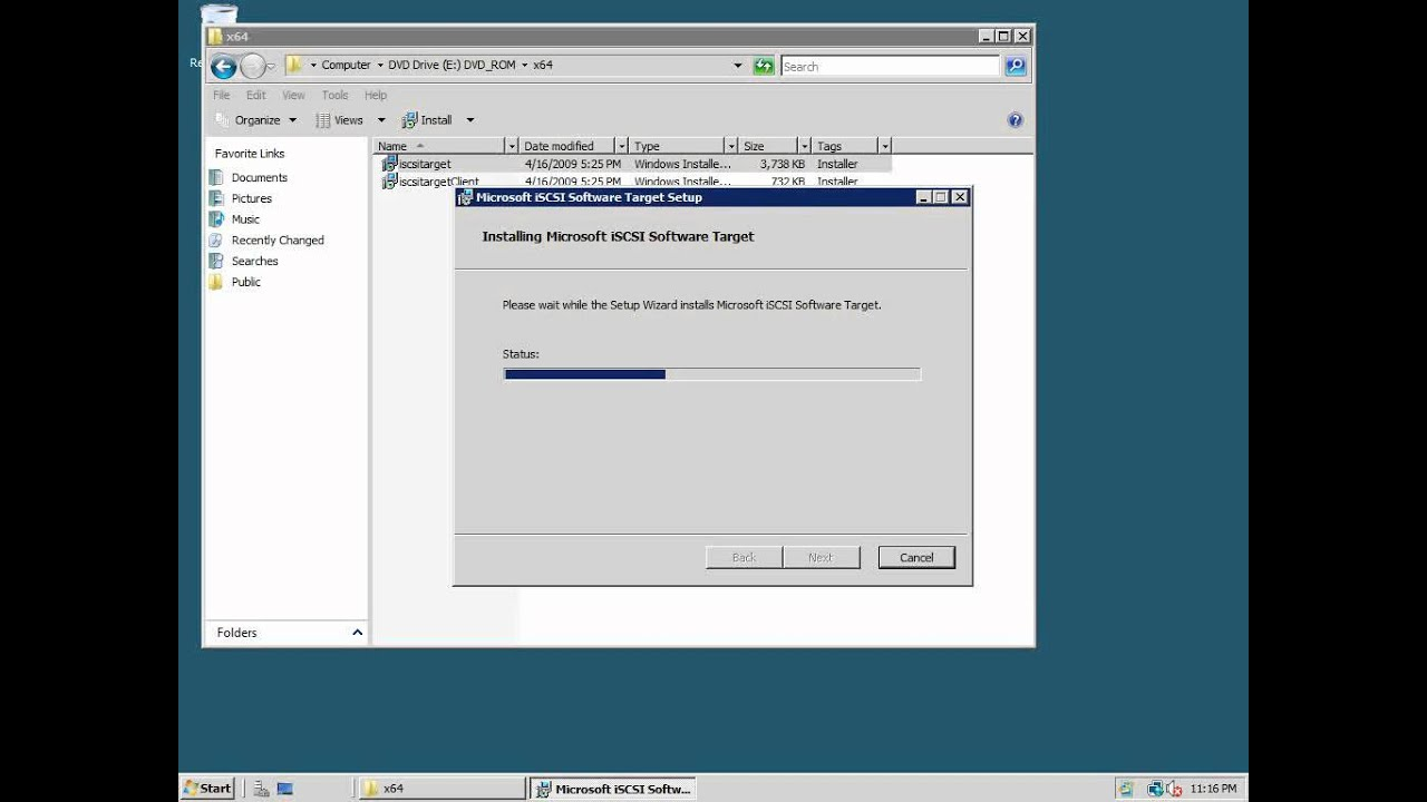 How to set up an iSCSI connection in WIndows Server 2008