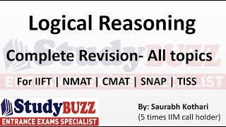 Complete revision of all Logical Reasoning topics for SNAP, CMAT, NMAT, TISS,IIFT, CET & SRCC exam.
