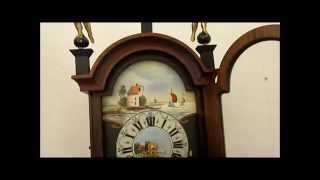 Beautiful Dutch 8 Day Oak Wood Striking To Bell Friese Tailed Wall Clock