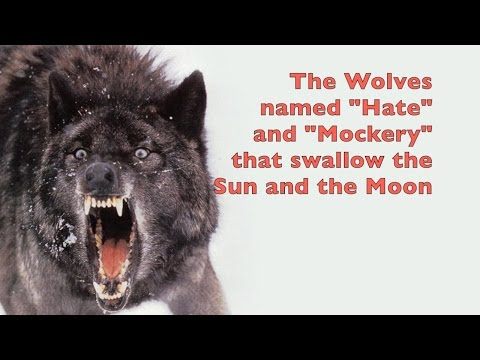 Sköll and Hati Wolves of Norse Mythology that swallow the Sun and the Moon
