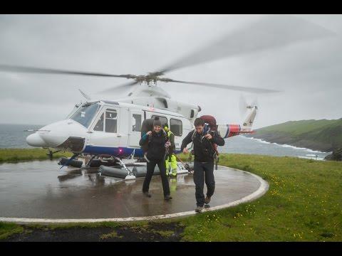 Landing in Mykines with Atlantic Airways' helicopter, Faroe Islands (Fær Øer - Føroyar)