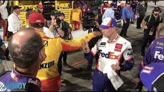 Joey Logano and Denny Hamlin exchange words and shoves, a breakdown