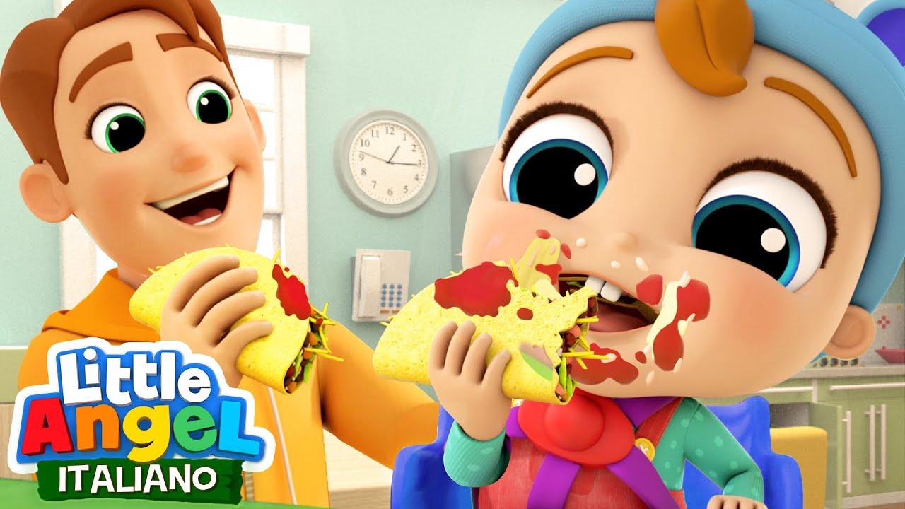 Impara a Mangiare in Modo Sicuro 🍝🍽 Cartoni Animati con Gianni Piccino - Little Angel Italiano