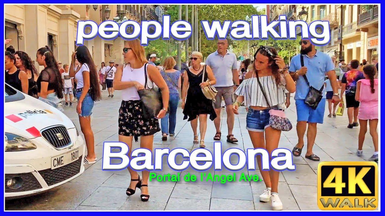 【4K】WALK BARCELONA Spain PEOPLE walking SLOW TV travel vlog